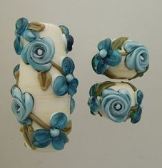 BLISS Leaky Pen Roses and Blossoms Focal and Pair Lampwork Bead Set