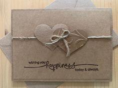 made wedding card Hearts Wedding Card. Wishing you happiness today & always. Wedding Cards Handmade, Greeting Cards Handmade, Handmade Engagement Cards, Handmade Stamps, Handmade Books, Etsy Handmade, Handmade Gifts, Primitive Wedding, Rustic Wedding