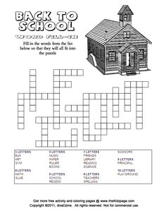 Back to School Word Fill-in Answers - Free Printable Learning Activities for Kids - Printable Colouring Sheets