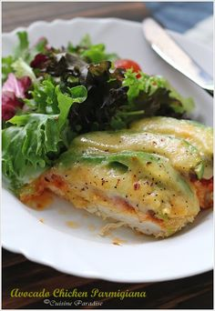 Cuisine Paradise   Avocado Chicken Parmigiana -- so delish!! Avocados weren't a strong flavor, but they gave a good texture and made it really filling! Only used half an avocado for two chicken breasts.
