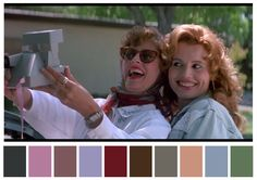 50 Iconic Films and Their Color Palettes - Thelma & Louise Movie Color Palette, Colour Pallette, Colour Schemes, Martin Scorsese, Stanley Kubrick, Alfred Hitchcock, Thelma Y Louise, Cinema Colours, Color In Film