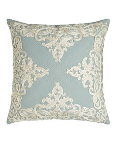 "Rienzo 22""Sq. Pillow with Quilting Detail, Blue - Callisto Home"