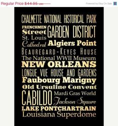 ON SALE New Orleans Louisiana Typography Art by LegacyHouseArt, $39.95