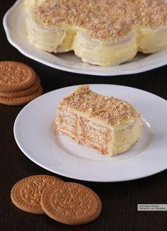 Tarta de galletas María. Receta fácil sin horno