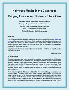Hollywood Movies in the Classroom: Bringing Finance and Business Ethics Alive