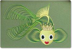 Gold fish free machine embroidery design