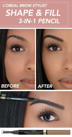 Before and after with the Brow Stylist Shape & Fill pencil. Triangular tip precisely outlines, easily shades, and evenly fills brows.