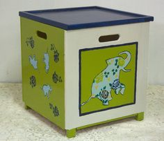 Toy box with elephant  By Varda Artisticolors