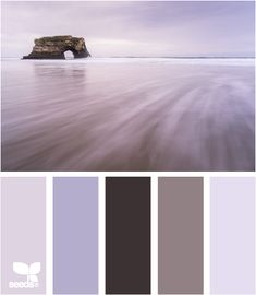 Shades of the eggplant color match the pastel shades of blue very harmoniously. This palette of cold colors is appropriate for bedroom decoration. Scheme Color, Colour Pallete, Colour Schemes, Color Combos, Color Palettes, Lila Palette, Pastel Palette, Pastel Colors, Paint Colors