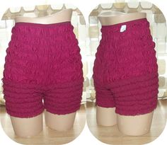 $18.99 #Vintage 70s Lace Rumba Ruffle Petti Pants SWING Panties L High Waist Pin Up BURGUNDY Red #VCAT #VINTAGELOVE by IntrigueU4Ever, $18.99