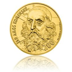 Zlatá medaile ve váze 40dukátu J.A. Komenský - motiv bankovky 200 Kč stand | Česká mincovna Coins, San, Money, Personalized Items, Rare Coins, Coining, Silver