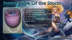 League of Legends themed drinks Coconut Syrup, Alcoholic Drinks, Cocktails, Eye Of The Storm, Vanilla Ice Cream, League Of Legends, Lol, Shots, Lounge