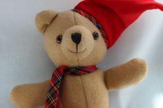 Avon Collectible Plush Teddy Bear Santa Hat Red Plaid Christmas Holiday #Avon #Christmas