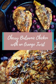 Simple yet fancy weeknight dinner. This Cherry Balsamic Chicken with an Orange Twist is tangy, bright with a slightly sweet finish perfect meal to wow your family during a busy week. #chickendinner #weeknightmeals #familydinner #recipe #simplymade #dinnerrecipe