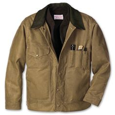 Tin Jacket.  Great jacket with tin cloth fabric.  Keeps the rain off and is a great shell from the wind.  Made in the USA.