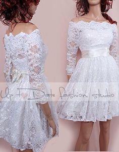 Lace Short/ Off-Shoulder /Custom Made / wedding / reception dress / 3/4 Sleeves/ Bridal Gown by UpToDateFashion on Etsy https://www.etsy.com/il-en/listing/167063973/lace-short-off-shoulder-custom-made