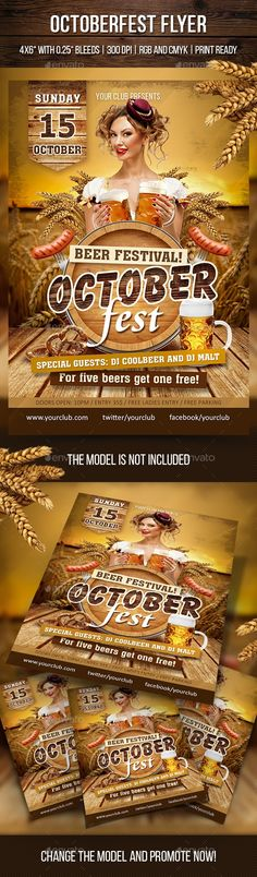 """autumn, bar, beer, beer fest, beverage, carnival, fall, festival, flyer, German fest, holiday, invitation, octoberfest, oktoberfest, party, poster, restaurant, template, web Octoberfest Flyer Features: 2 PSD files Fully editable and organized layers Size: 4х6"""" with 0.25"""" bleed Print ready (CMYK, 300 DPI) RGB version for web FREE fonts used Help file is included in Package download The model is not included Fonts Used: a_Assuan Medium Balloon XBd BT Extra Bold Bebas Neue Cataneo BT Bold ..."""