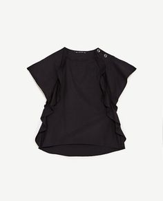 POPLIN TOP WITH FRILLED SLEEVES AND BUTTONS-View All-TOPS-WOMAN | ZARA Israel