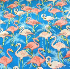 Pink Flamingo Fabric Cotton Material Cotton Classics by Quiltwear, $11.00