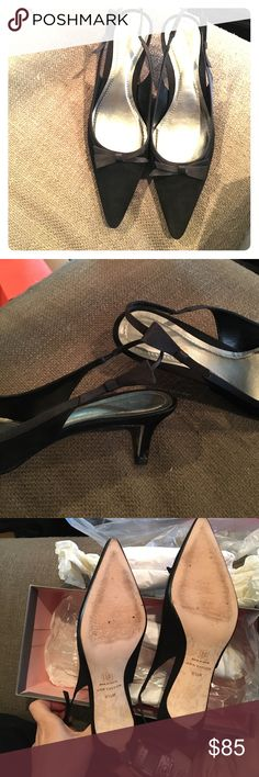 Ann Taylor Claudette a black Suede Bow Pumps Ann Taylor Claudette Black Suede Pumps with Bows. Excellent condition, bows accent the tops of the shoes and bows on the straps as well. These shoes are practically brand new condition, only signs of wear are on the bottom soles (see picture) and tiny wear on the heels (see picture). Comes with original shoe box. These are gorgeous! Size 8.5 Ann Taylor Shoes Heels