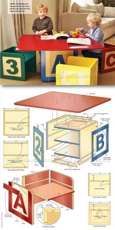 Childrens Table and Chairs Plans - Children's Furniture Plans and Projects | WoodArchivist.com