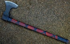 """Viking 's axe blade of 4.93"""" forged in 1075 carbon steel with selective temper , oal of 26"""" available www.aufildelalame.fr"""