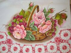 Pano de copa em pintura em tecido e croc | Artes em Crochê e Pintura | 1A68D2 - Elo7