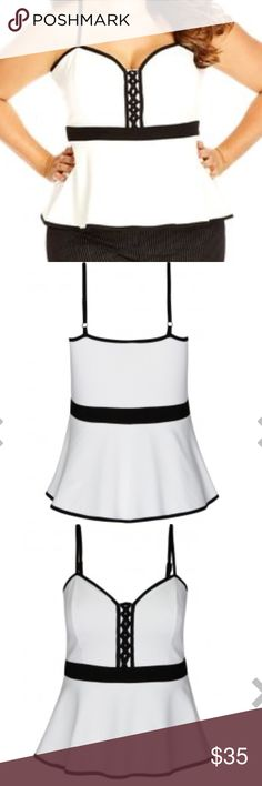 NWT 24 XXL city chic peplum top A lace-up detail at the sweetheart neckline captivates attention in this layer-ready sleeveless top designed to fit at the bust before flaring into a peplum hem for a flattering fit. New with tags size 24 plus size City Chic Tops Blouses
