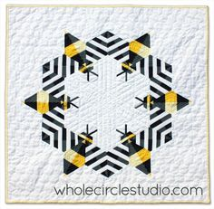 Bzzzzzz bee mini quilt from whole circle studio