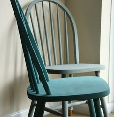 Ercol Chairs painted in Duck Egg and Provence Blue. Perfect for any country kitchen.