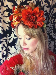 Frida Kahlo Day of the Dead Flower Crown Headband C- Free Shipping on Etsy, $45.00