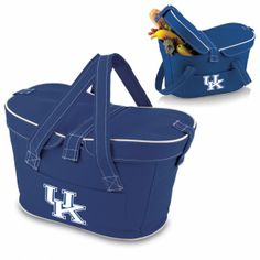 Kentucky Wildcats Mercado Basket by Picnic Time. SHORT DESCRIPTION:The Mercado Basket combines the fun and romance of a basket with the practicality of a lightweight canvas tote. It's made of polyester with water-resistant PEVA liner and has a fully removable lid for more versatility. Take it to the farmers market, the beach, or use it in the car for long trips. Carry food or sundries to and from home, or pack a lunch for you and your friends or family to share when you reach your…