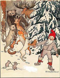 Vintage Christmas Card by Elsa Beskow ~ Gnome & Woodland Pals ~ Orange Accents
