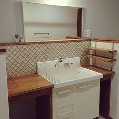 Bathroom/フェイクグリーン/コラベル/ピアラ/名古屋モザイクタイル/LIXIL洗面台のインテリア実例 - 2018-01-27 13:42:25