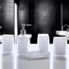 [EBay] Baispo Bath Accessories Wash Gargle Suit Bathroom Products Plain High Quality Acrylic Shampoo Storage 5Pcs Sets Bathroom Accessories Sets, Bathroom Colors, Soap Dispenser, Shampoo, Blue And White, Storage, Suit, Ebay, Products