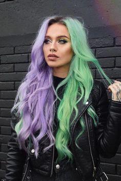 dyed hair ARCTIC FOX HAIR COLOR kristina_micic my hair is bipolar just like me gt; Hair Color Purple, Hair Dye Colors, Cool Hair Color, Purple And Green Hair, Lilac Hair, Pastel Hair Colors, Gray Hair, White Hair, Weird Hair Colors