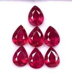 10.13 Cts Natural Ruby Pear Cut 8x6 mm Lot 07 Pcs Calibrated Faceted Loose Glass Filled Loose Gemstones Natural Emerald, Natural Ruby, Semi Precious Gemstones, Loose Gemstones, Rocks And Gems, Just Amazing, Lead Glass, Jewelry Sets, Pear