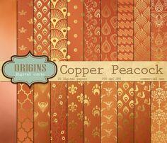 Copper Peacock Digital Paper