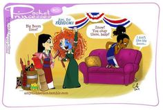 The Disney Princesses celebrating the 4th.  I feel like Tiana explained the holiday to them and Mulan and Merida immediately jumped onto the bandwagon when they heard there were fireworks involved.