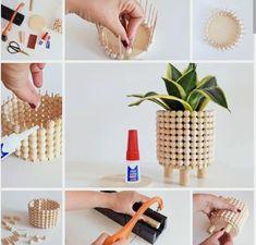 Diy Crafts For Home Decor, Diy Crafts To Do, Diy Projects To Try, Plant Crafts, Diy Plant Stand, Ideias Diy, Diy Ribbon, Boho Diy, Plant Decor