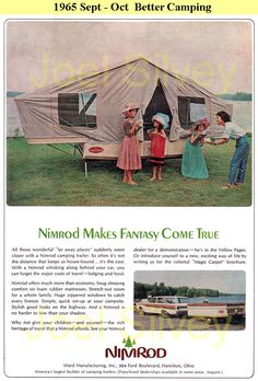 Nimrod pop-up camper ad, Better Camping magazine, Sept.-Oct. 1965 - Nimrod's were made by Ward Manufacturing of Hamilton, Ontario.