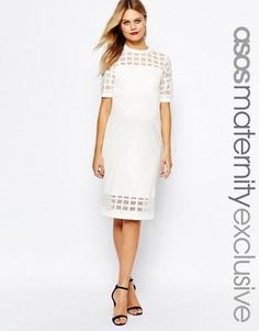 02963ca9df5 ASOS Maternity Cage Insert Bodycon Dress - Shop for women s Dress - Cream