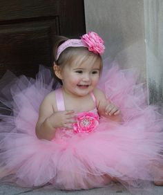 Pink Flower Girl Tutu Dress.  Wedding Flower by Sassylittletutus