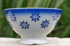 Vintage French  Cafe au Lait bowl hand painted blue pinwheel flowers
