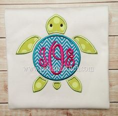 Girl's Monogram Sea Turtle Applique - Summer Shirt - Monogram - Girl's Design - Birthday by SouthernPrepBoutique on Etsy https://www.etsy.com/listing/224375039/girls-monogram-sea-turtle-applique