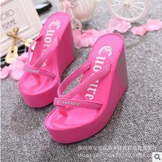 Fashion Summer 11cm High Heels Women Rubber Flip Flops Female Platform Wedges Slippers Girl's Beach Sandals zapatillas mujer