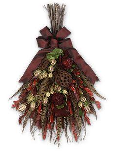 fall floral swags | Burgundy Pheasant Swag