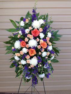 #sympathy spray #funeral arrangements #floralcreations #football mums #roses #carnations #blue delphinium #smyrna