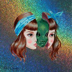 Kai Fine Art is an art website, shows painting and illustration works all over the world. Art And Illustration, Illustrations, Art Inspo, Kunst Inspo, Inspiration Art, Aliens, Psychedelic Art, Art Alien, Trippy Alien
