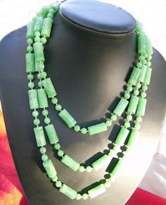 Vintage Green Necklace  Circa 1950 Long by JewelryArtistry on Etsy